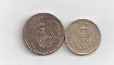 2 DIFFERENT COINS from SOUTH AFRICA - 20 & 50 CENTS (BOTH DATING 2008)