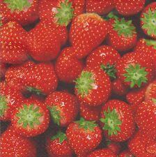 2 serviettes en papier Fraises - Paper Napkins Fresh Strawberries
