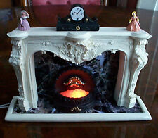Doll house grand style cheminée miniature 12v light up grille statues clock neuf