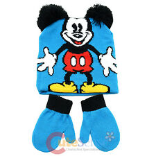 Disney Mickey Mouse 3D Ear Beanie Hat Mitten Gloves Set - Classic Mickey Blue