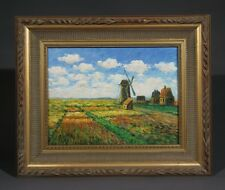 Oil Painting on Canvas Framed Impressionist Dutch Landscape Windmill after Monet