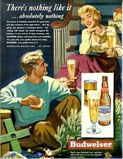 1949 Budweiser Beer Taking a break Putting the Christmas Tree  PRINT AD