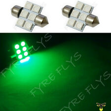 2 Green 31mm 6SMD festoon dome map interior LED light lamp DE3175 3022 3021 2xD1