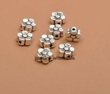 100pcs Tibetan Silver Charms Flower Spacer Beads 6x3mm DIY Findings D3413