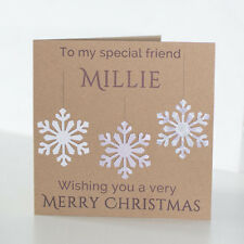 Personalised Handmade Special Friend Christmas Card. Snowflake Best Friend Card.