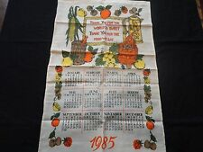 Unused Vintage 1985 Cloth Calendar Tea Towel