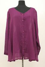 FLAX BOLD 2015 LINEN COTTON FLOURISH CARDI SHIRT BUTTON BLOUSE GRAPE VOILE 2G