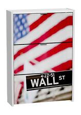 Zapatero blanco de 3 puertas abatibles con serigrafiado de Wall Street. 115x80cm