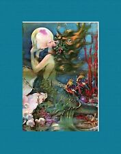 OPULENT MATTED ART DECO MERMAID ART * HENRY CLIVE * PEARL DIVER