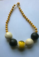 Statement Necklace 19 inches Yellow White and Brown beads