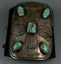 HUGE Vintage Old Pawn Navajo Ceremonial Sterling Leather & Turquoise Bow Guard