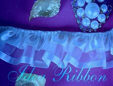 Ruffled lace Trim 2 Inch Lt.Blue Satin Top Sewing Floral Lace Selling by Yard