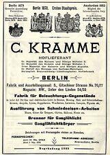 C. Kramme Berlin BELEUCHTUNGS- GEGENSTÄNDE Historische Reklame von 1896