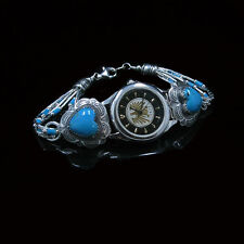 VINTAGE .925 Sterling Silver Natural Blue Turquoise Heart Wristwatch Watch