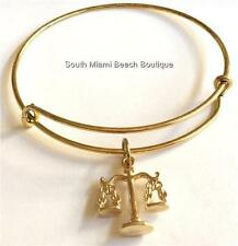 Gold Plated Law Charm Bracelet Lawyer Gift Scales of Justice Judge JD Attorney
