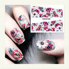 1 Sheet Nail Art Water Transfer Decal Manicure Sticker Flower Pattern YZW-8160