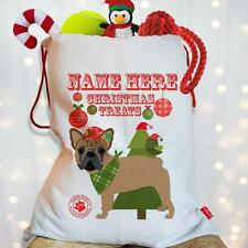 Personalised Fawn French Bulldog Dog Christmas Treat Santa Xmas Sack Stocking
