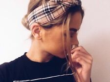 HEADWRAP HAIR WRAP HEADBAND BANDANA BEIGE TARTAN PLAID CHECK LADIES GIRLS NEW