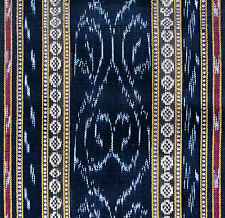 Ikat Cotton. Hand-Dyed & Hand-Woven, Black Fabric. Orissa, Odisha Homespun