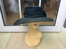 LADIES BLACK WIDE BRIM HAT FOR WEDDINGS/RACES/SPECIAL OCCASIONS AVERAGE COND