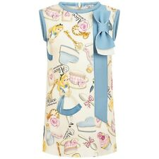 Monnalisa Bimba Girls Alice In Wonderland Tea Party Blue Bow Party Dress 5 Year