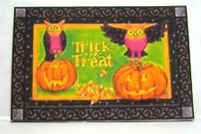 Dollhouse Miniature Halloween Welcome Mat - Jack-O-Lanterns and Owls
