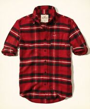 New Hollister By Abercrombie Slim Fit Plaid Flannel Button-Front Red Shirt Sz M