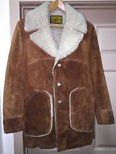 Vintage Men's Suede Jacket 38 Brown Gorgeous Imitation Sheepskin Lining 021716