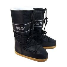 Manbi Insulated Waterproof Winter Snow Space Moon Boots - Black - UK 9 to 11