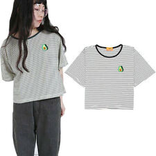 Women Short Sleeve Casual T Shirt Striped Avocado Embroidery Tops Tees Loose
