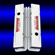 MCC69TR Chrome SBC Tall Valve Covers Fits Small Block Chevy 350 With Emblems RED