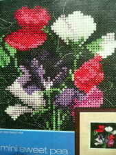 Counted cross stitch Kit Mini Sweet Pea flowers by Heritage 14 count Aida