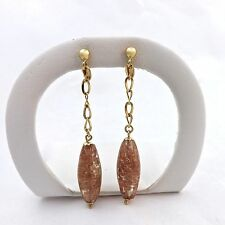14K GOLD MURANO VENETIAN GLASS COPPER BEAD DANGLE EARRINGS NEW