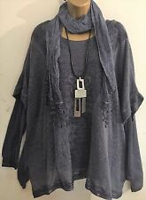New Italian Lagenlook Grey 3 pc mohair Tunic Top Scarf fit uk 16 18 20 22