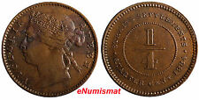 Straits Settlements Victoria Bronze 1884 1/4 Cent  aUnc/XF Condition RARE KM# 7a