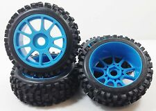 NIB Big Block Blue Spike Pre-Mounted 1/8 Buggy Tires Glued 17mm hex