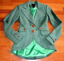 Smythe Les Vestes Kelly Green Tweed Wool Blazer Hunting Jacket UK 6 - 8 / US 4