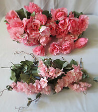 Lot of 45 Silk Pink Roses and hydranges with stems bouquet arrangement