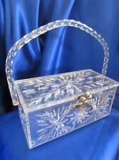 VINTAGE CLEAR DOUBLE CARVED CUT LUCITE PURSE AND LID TWISTED ROPE HANDLE!!