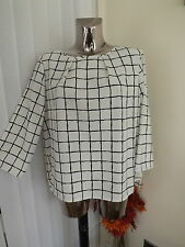 M&S IVORY NAVY LOOSE FIT 3/4 SLEEVE TUNIC BLOUSE TOP SIZE 16 MAY FIT 18 BNWT