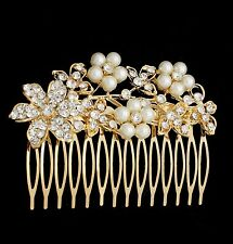 NEW Silver Gold Bridal Bridesmaid Wedding Hair Comb Clip Flower Pearl Rhinestone