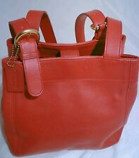 COACH WAVERLY VINTAGE 4157 Red Leather Shoulder Bag Bucket Tote Purse-USA