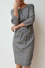COUNTRY ROAD Black White Cross Hatch Print Long Sleeve Silk Dress 16 $229