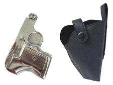 GUN SHAPED novelty FLASK WITH HOLSTER stainless steel pistol drinking hip flasks