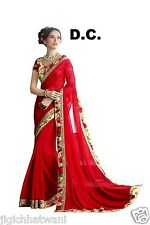 INDIAN ETHNIC BOLLYWOOD RED DESGINER WITH EXCLUSIVE BORDER BLOUSE SAREE SARI