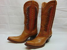 Lucchese Womens 8.5 Twisted Leather Tan/Coral Studs Western Cowgirl Boots M4873