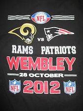 NEW ENGLAND PATRIOTS vs ST LOUIS RAMS Wembley Stadium Oct 28 2012 (Y XL) T-Shirt
