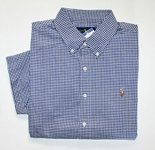 NWT Men's Ralph Lauren Casual Short-Sleeve Shirt, Navy, Cream M, Medium