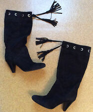 Ladies BCBG Girls Black Suede Tall Boots EUC Bargain Tassels Sz 7  7.5 EUC