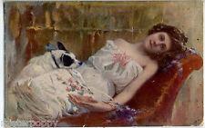 COLANTUONI Donnina con Cane Girl w Dog PC Viaggiata 1921